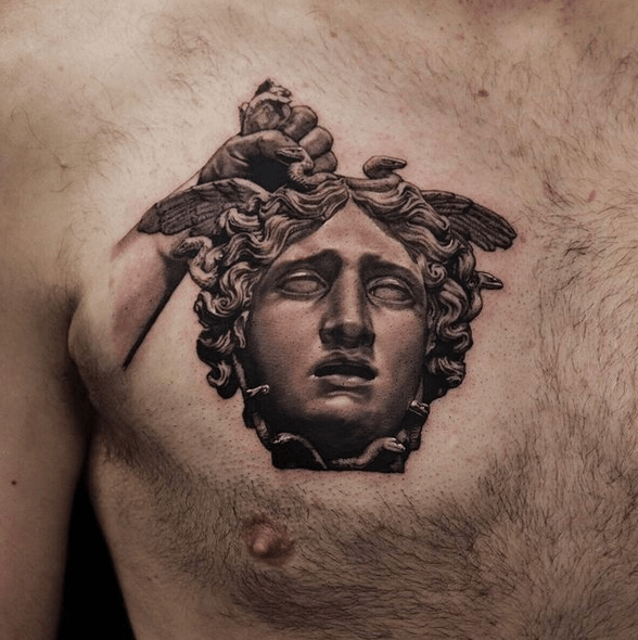 Realistic Greek Medusa tattoo by @ethan_thezoomtattoo
