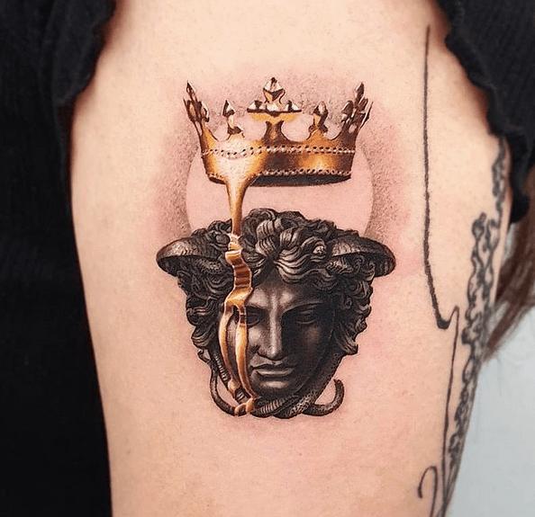 Realistic Versace Medusa tattoo found at @tattoos__art___