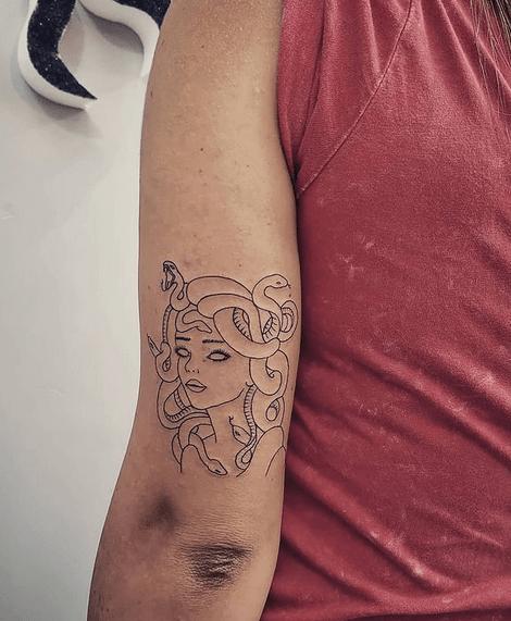 Simple medusa line tattoo by @tattoorebelmuse