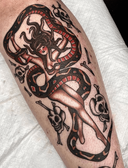 Traditional medusa pinup tattoo by @dead_irene