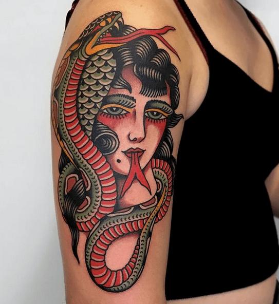 Traditional medusa tattoo by @team_fullgas