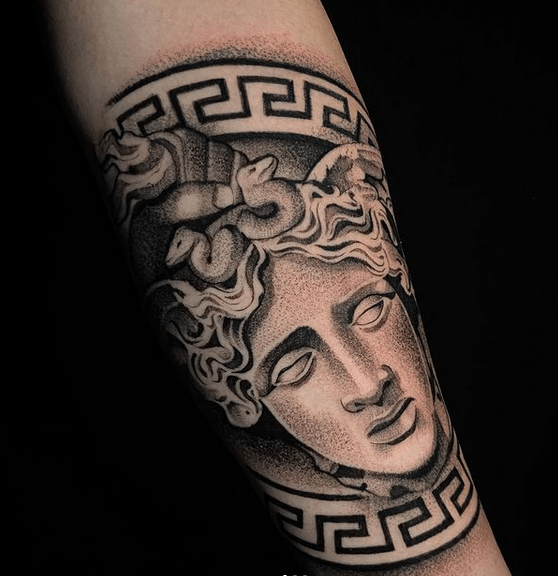 Versace medusa band tattoo by @jerryonetattoo