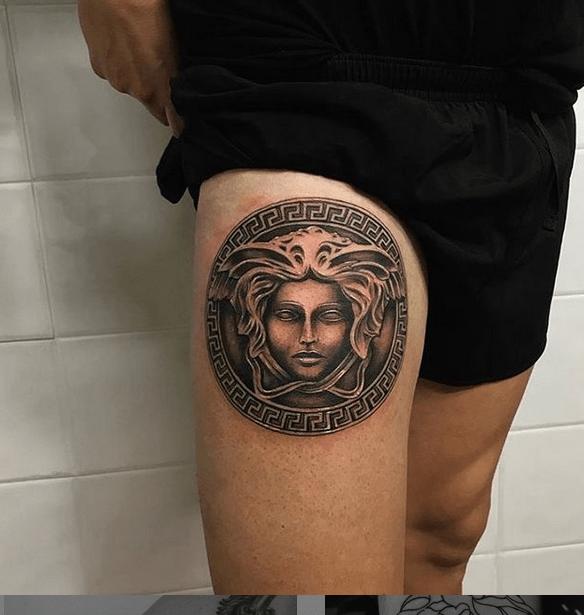 Versace medusa tattoo by @jesusgonzalveztattoos