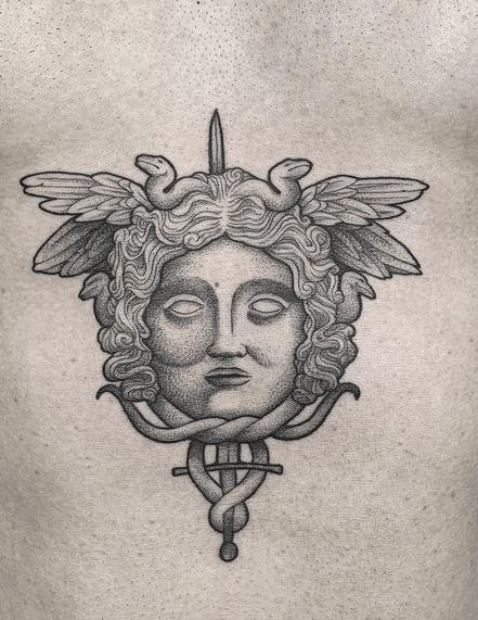 Versace medusa tattoo by @marcusrotten